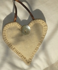 linen lavender heart in blanket stitch