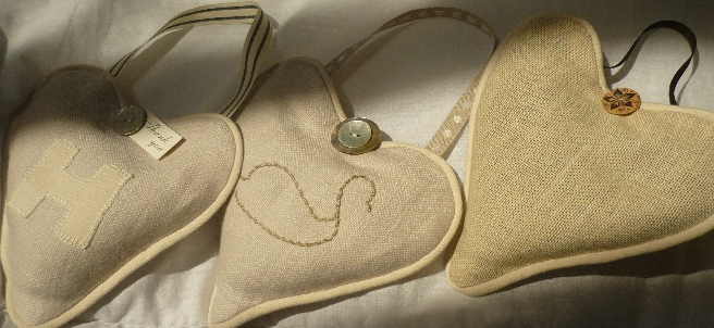 pure linen love hearts stuffed with lavender from Provence